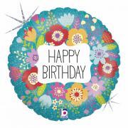 Folienballon Happy Birthday Wildblumen