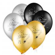 Latexballons New Year ø 33 cm 6 Stück (dreifarbig)