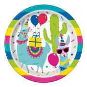 Pappteller Lama Birthday 23cmØ 8 Stück
