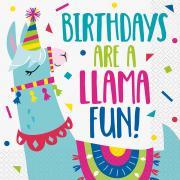 Servietten Lama Birthday 33x33cm 16 Stück