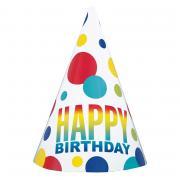Partyhüte Regenbogen Dots Happy Birthday 8 Stück