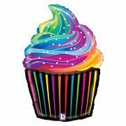 """Folienballon Cupcake Regenbogen 27"""""""