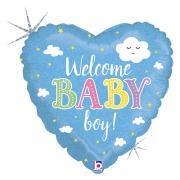 Folienballon Baby Welcome Boy Herz