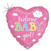 Folienballon Welcome Baby Girl Herz