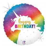Folienballon Einhorn Happy Birthday Glitter