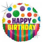 Folienballon Happy Birthday Dots & Stripes