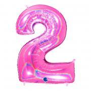 Folienballon Riesenzahl Glitter Pink #2 100cm