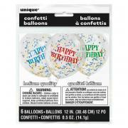 Latexballon Konfetti ca. 30cmØ/6St. Happy Birthday