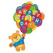 Folienballon Happy Birthday Bär mit Ballons 106cm