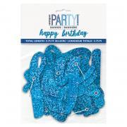 Buchstabengirlande Glitz Happy Birthday Blau 84cm