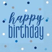 Servietten Glitz Blau Happy Birthday 33cm 16 Stück