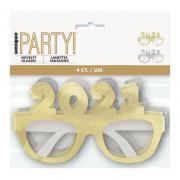 Brille Papier 2021 Folien-Gläser Silber/Gold 4Stk.