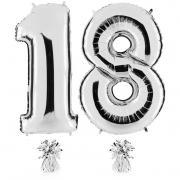 Riesenzahl 18 Silber Heliumgefüllt 101cm Hoch