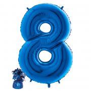 Ballon Bouquet Riesenzahl 8 befüllt mit Gewicht 8