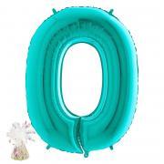 Ballon Bouquet Riesenzahl 0 befüllt mit Gewicht NULL