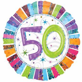 Folienballon Happy Birthday Radiant #50 holo 45cmØ