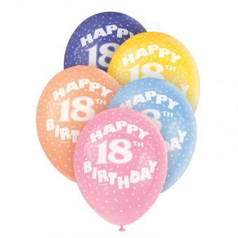 5 Latexballons Happy 18th Birthday ø30cm bunt