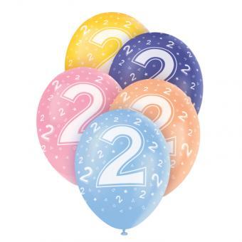 5 Latexballons Zahl 2 Bunt ø30cm