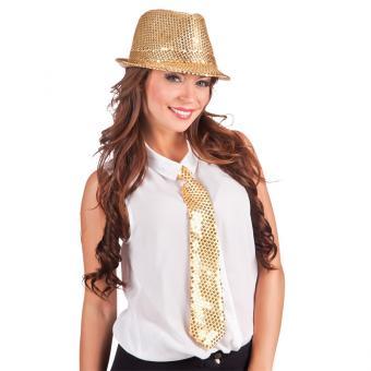 Krawatte mit Glitzer-Pailetten in Gold
