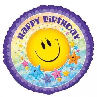 Folienballon Happy Birthday Smiley Star 45cmø