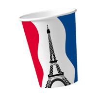 10 Pappbecher Frankreich mit Eifelturm