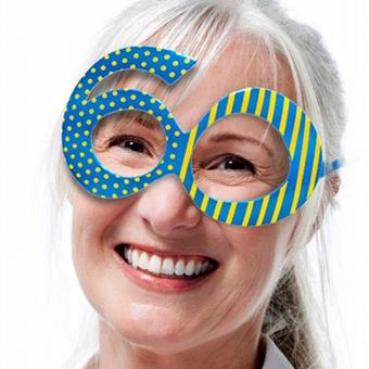 Brille 60. Geburtstag blau gelb