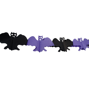 Papier-Girlande Fledermaus Schwarz-Lila 4m
