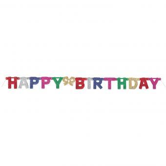 Buchstaben-Girlande Happy Birthday Glitter 140cm