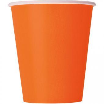 Pappbecher Orange 266ml 8 Stück