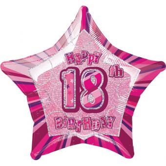 Folienballon Glitz Stern #18 pink 50cmØ