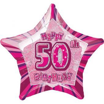 Folienballon Glitz Stern #50 pink 50cmØ