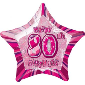 Folienballon Glitz Stern #80 pink 50cmØ