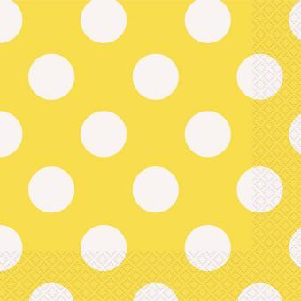 Servietten Dots Gelb 33x33 cm 16 Stück