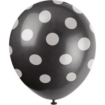 6 Latexballons Dots Schwarz ø30cm