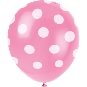 6 Latexballons Dots Pink ø30cm