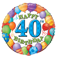 Folienballon Happy Birthday Balloons #40 45cmØ