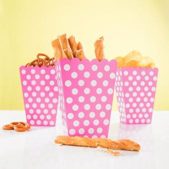 8 Snackboxen Dots Punkte in Pink