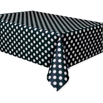 PVC-Tischdecke Dots 137x274cm schwarz