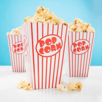 10 Popcorn-Boxen Retro Rot-Weiss 15x11cm