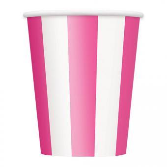 Pappbecher Stripes pink 354ml 6 Stück
