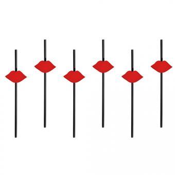 Strohhalme Kussmund Rot 6 Stück