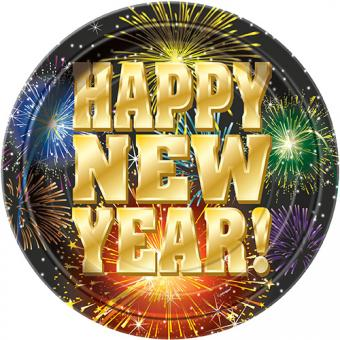 8 Pappteller Happy New Year Fireworks 18cm