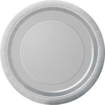 Pappteller Circle Silber ø23cm 8 Stück