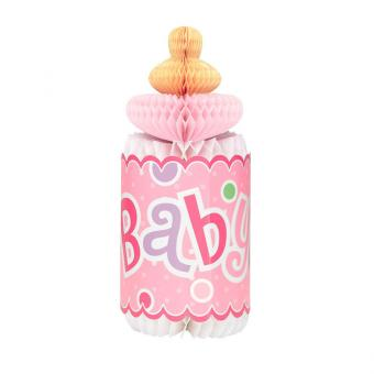 Tischaufsteller Babyflasche pink