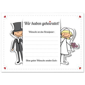 Weitflugkarten Hochzeit Comic 50 Stück
