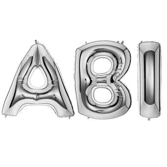 Ballon Riesenbuchstaben ABI Silber 100cm