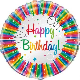 Folienballon Happy Birthday Rainbow Ribbon 45cmø