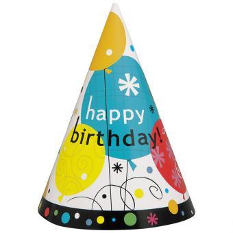 Partyhüte Breezy Birthday Balloons 8 Stück