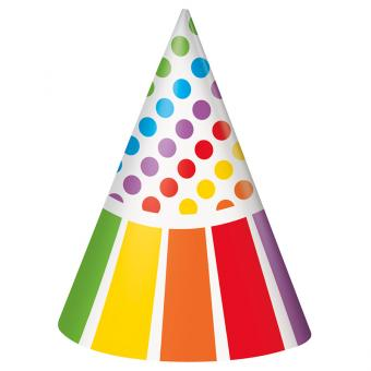 Partyhüte Happy Birthday Rainbow Party 8 Stück