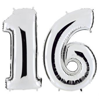 Set Folienballons Riesenzahlen 16 Silber 101cm